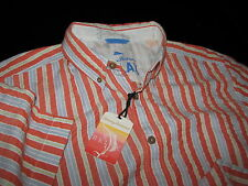 Tommy Bahama TBT Seer Sucker Cruiser Orange Jup New Camp Shirt Large L  TR310535