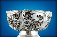 Antique Chinese Export Silver and Enamel Bowl, Qing Dynasty
