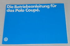 Betriebsanleitung VW Polo 2/II Coupe Typ 86c Stand 08/1982