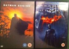 BATMAN BEGINS & THE DARK KNIGHT Christian Bale DC Comics Action 3 Disc DVD *EXC*