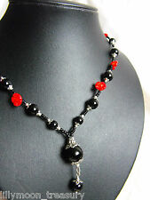 "XXL GLASS BEDED NECKLACE CARVED CORAL flower daisy ONYX gemstone 20-22"" LAST ONE"