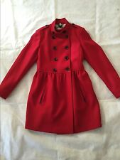 NWT AUTH BURBERRY BRIT $1195 WOMENS WOOL CASHMERE  RED COAT JACKET US 4