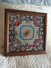 antique early Victorian hand worked bead work tapestry framed