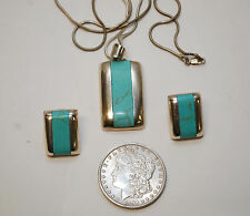 Mexico Taxco Modernist Sterling Silver Turquoise Pendant Necklace & Earrings