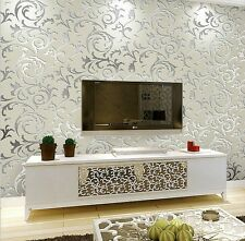 Silver Gray Toprate Embossed Textured Pattern Wallpaper Decal Room Decor Roll