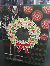 "Stampin Up ""Merry Christmas"" Wondrous Wreath Handmade Card"
