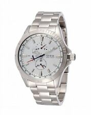 NEW-GUESS STAINLESS STEEL SILVER TONE,WHITE DIAL MEN WATCH-W11612G1