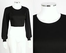 JIL SANDER BLACK STRETCH LONG SLEEVE CROPPED MIDRIFF TOP BLOUSE SZ S / M