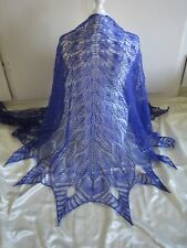 HANDKNITTED SUPER SOFT SHETLAND WOOL LACE SHAWL VIOLET BLUE