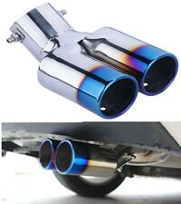 1Pcs Blue Double Outlets Exhaust Muffler Tail Pipe Tip Tailpipe for Ford Focus