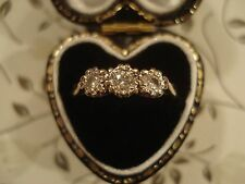 Beautiful Vintage; 3 Sparkling Diamonds,Classic Trilogy Design 9CT Gold Ring
