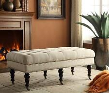 """Beige Bench 50"""" Natural Linen Tufted Upholstered Settee Ottoman Nailhead Casters"""