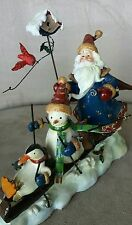 GIFT LINK WONDERFUL SANTA FIGURINE SANTA , SNOWMAN , PENGUIN SKIING NEW WITH BOX