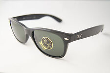 RAY BAN New Wayfarer­ Sonnenbrille RB2132 901L Shiny Black / Green, Damen Herren