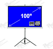 "New 100"" Portable Tripod Projection Screen home cinema Projector Matt Grey 16:9"