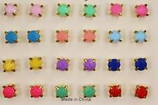 12 pair stud earrings faceted crystal gem bead ball post set pack multi color