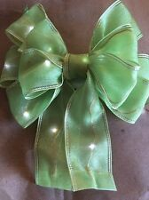 "3 Pcs New 5.5"" LED Battery Lighted Green Ribbon Bow Decoration Gift Wrap"