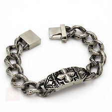 "Mens 9"" Vintage Silver 316L Stainless Steel Chain Link Cross Biker Bracelet Cool"