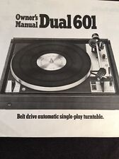 "Dual 601 Turntable ""Original"" Owners Manual 8 Pages A16"