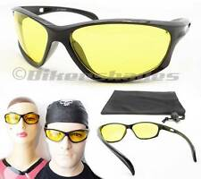 Yellow Night Vision Glasses Anti Glare Motorcycle Riding Driving Cycling Sports