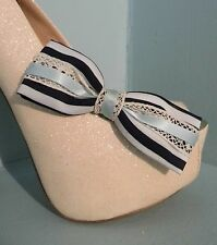 2 Cream & Blue Striped Bow Clips for Shoes