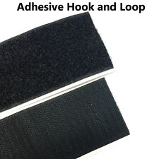 "2"" x 5 Yards  Black Self Adhesive Hook and Loop Strap Stick on Tape Fabric"
