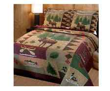 Queen Quilt Set Rustic Bedding Shams Cabin Full Size Lodge 3 Piece Cotton Camper