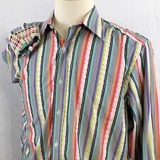 Robert Graham Mens M Shirt Long Sleeve Striped Polka Dot Flip Cuff  Green Pink