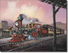 Blaylock Rollin Thru Steam Locomotive TIN SIGN old west railroad train art 1031