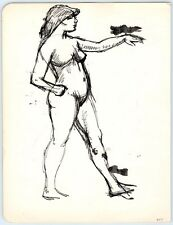 ABSTRACT FEMALE NUDE 1950's Vintage Art Drawing MID-CENTURY MODERN / Lesbian Int