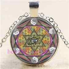 Sacred Geometry Eye of Horus Cabochon Glass Tibet Silver Chain Necklace#2833