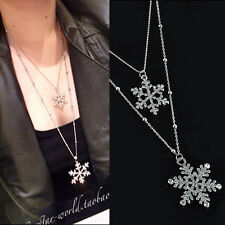 Fashion Crystal Snowflake Sweater Chain Necklace Two Layer Pendant Necklace
