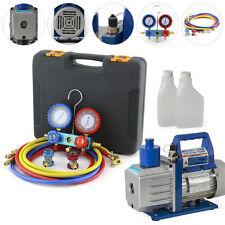 A/C Diagnostic Auto Car Tester Manifold Set (R134a), 1/2HP 5CFM Vacuum Pump Set