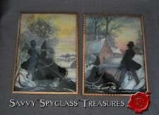 TWO Vintage Bubble Glass Reverse Painted Silhouettes Romantic Couple Winter