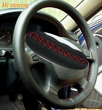 FITS HONDA CIVIC 92-05 BLACK ITALIAN LEATHER STEERING WHEEL COVER RED STITCHING
