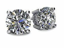 2.5Ct Round-Cut Created Diamond Stud Earrings 14K White Gold