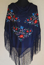 "Spanish flamenco dance Blue triangular shawl  multi floral embroidery 66""x39"""