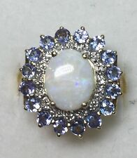 Natural DIAMOND & opal & tanzanite Ladies RING solid 10k yellow gold BEST DEALS