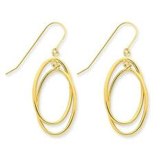 14k Ladies Yellow Gold Polished Double Circle Dangle Wire Earrings 42mm x 16mm