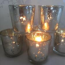 50 STRAIGHT EDGE SILVER VOTIVE TEALIGHT HOLDERS MERCURY GLASS  HOME WEDDING