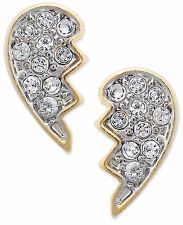 JUICY COUTURE Pave Crystal Best Friend Heart Gold-Tone Stud Earrings