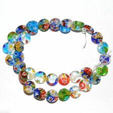 50Pcs Mixed Flat Millefiori Glass Loose Spacer Beads Bracelet Necklace Accessory
