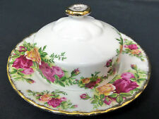 OLD COUNTRY ROSES COVERED BUTTER DISH, 1st QUALITY, VGC, 1973-93, ROYAL ALBERT