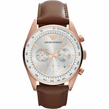 Emporio Armani Tazio Brown Leather Quartz Men's Analog Watch AR5995