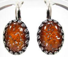 SoHo® Ohrhänger Ohrringe vintage japan Glas 18/13 oval silver orange 1950´s
