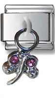 1 Silver Dragonfly Pink Stones Dangle 9MM Stainless Steel Italian Charm