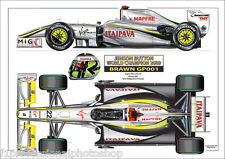2009 Brawn GP001 Jenson Button  World Champion ltd ed/250 art print A4