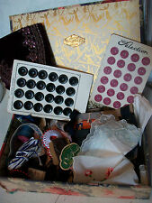 Vintage French sewing box & contents ribbons buttons handkerchiefs threads