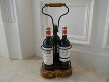 Wooden French Vintage look Stand handle Wine Racks Holder 3Bottles Bar Accessory