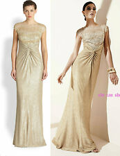 $648 David Meister Gold Gown Metallic Lamé Sequin Mesh Bodice dress NWT SZ 4